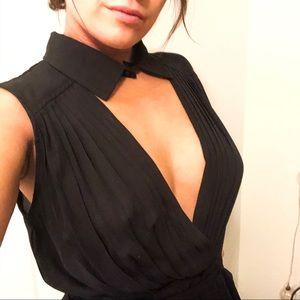 Nasty Gal Dresses - Sexy LBD work to play pleated deep v collar dress